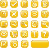 Orange Glossy Web Buttons Icons
