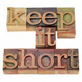 Keep It Short In Letterpress Type
