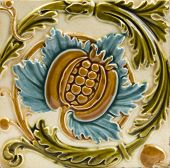 An Art Nouveau antique majolica tile dating around 1895