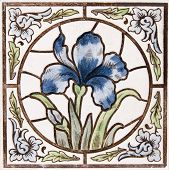 An Art Nouveau original tile dating around 1895 with Iris flower design