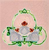 An antique Art Nouveau majolica tile