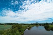 River Severn at Cressage, UK with Wrekin hill in background