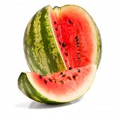 Sliced watermelon on white background with drop shadow