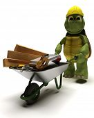 3D render of a tortoise Builder with a wheel barrow carrying tools