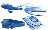Travel transportation blue vector icons.