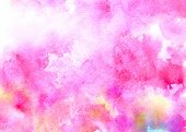Pink water color background with colorful stains poster