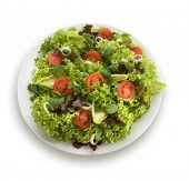 Mediterranean salad with lettuce tomatoes and olives