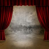 image of stage theater  - Small stage with red velvet theater curtains - JPG