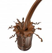 3D illustration of thick chocolate drink being poured in a glass