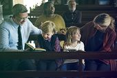 Family Sitting Church Believe Religion poster