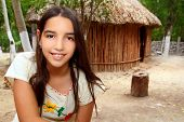 Mexican indian Mayan latin girl in jungle cabin house Mexico