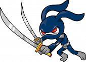 Ninja Rabbit Vector Illustration