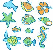 Tropical Ocean Set Vector Illustration