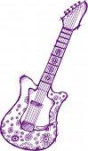 Sketchy Flower Guitar Vector Illustration