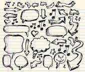 Notebook Doodle esboço fala bolha seta Vector conjunto de ilustração
