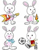 Easter Bunny Rabbit Set Vector Illustration