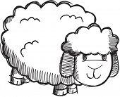 Doodle Sketchy Sheep Lamb Vector