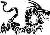 Dragon Tattoo Set Vector Illustration