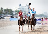 HUA HIN - APRIL 9: Thai Polo Team and Royal Pahang Polo Club Team during  the Asian Beach Polo Championship B Grimm  Princess Pa's Cup on Hua Hin beach. April 9, 2011 in Hua Hin, Thailand.