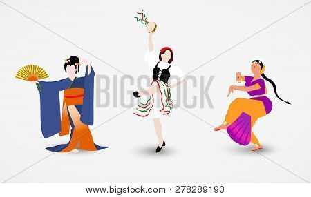 Set Of Illustrations Of Women