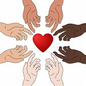 Concept Of Charity And Donation. Hands Give Love. Race Equality. Everyone Deserves Love. Give And Sh poster