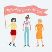 Vector Feminist Illustration. Girl Power Poster. International Womens Day. poster
