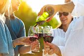 People At Wine Outdoor Party. Wine Festival. Man Pouring Red Wine In To The Wineglasses poster