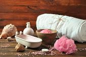 Spa And Body Care Products. Aromatic Rose Bath Dead Sea Salt On The Dark Wooden Background. Natural  poster