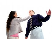 Relationship gone bad in the workplace  Woman slapping man for sexual harrasment  Motion blur