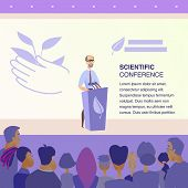 Vector Scientific Conference Protection Nature. Banner Illustration Man In Glasses Gives Speech From poster