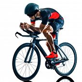 triathlete triathlon Cyclist cycling  in studio silhouette shadow  isolated  on white background poster