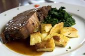 Prime Rib and Spinach and roasted potatoes