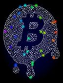 Glossy Polygonal Mesh Melting Bitcoin Icon With Glow Effect On A Dark Background. Carcass Melting Bi poster