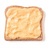 Bread Slice With Mustard Sauce Isolated On White, Clipping Path. Slice Of Multigrain Bread Square Fo poster