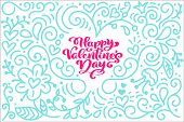 Card Calligraphy Phrase Happy Valentine S Day With Monoline Flourish Heart. Vector Valentines Day Ha poster