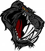 foto of saber-toothed  - Graphic Vector Mascot Image of a Saber Cat Black Panther Head - JPG