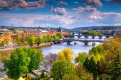 Admirable European Touristic City View From The Best Visited Excursion Place. Gorgeous Spring Panora poster