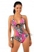 stock photo of monokini  - Beautiful Mexican bikini model isolated over white - JPG