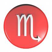 Zodiac Scorpio Icon Red Circle Push Button  - 3d Rendering Illustration poster