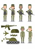 Set Of Soldiers, Group Of Army, Military People, Man And Woman Soldiers. Flat Design People Characte poster