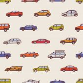 Seamless Pattern With Automobiles Of Various Types - Cabriolet, Sedan, Pickup, Hatchback, Suv, Miniv poster