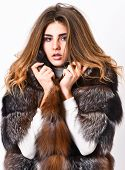 Fur Store Model Enjoy Warm In Soft Fluffy Coat With Collar. Fur Fashion Concept. Woman Makeup And Ha poster