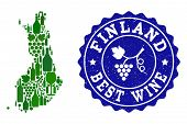 Vector Collage Of Wine Map Of Finland And Best Grape Wine Grunge Seal Stamp. Map Of Finland Collage  poster