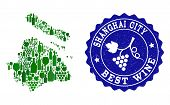 Vector Collage Of Wine Map Of Shanghai Municipality And Best Grape Wine Grunge Seal Stamp. Map Of Sh poster