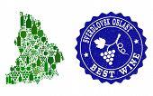 Vector Collage Of Wine Map Of Sverdlovsk Region And Best Grape Wine Grunge Seal. Map Of Sverdlovsk R poster