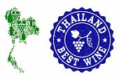 Vector Collage Of Wine Map Of Thailand And Best Grape Wine Grunge Watermark. Map Of Thailand Collage poster