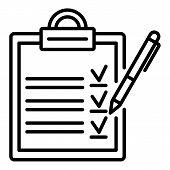 Clipboard Checklist Icon. Outline Clipboard Checklist Vector Icon For Web Design Isolated On White B poster