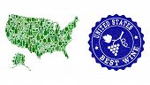 Vector Collage Of Wine Map Of Usa And Alaska And Best Grape Wine Grunge Stamp. Map Of Usa And Alaska poster