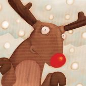 close up reindeer  (illustration or Christmas Card design)