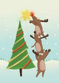 picture of rudolf  - reindeer decorating a Christmas tree   - JPG